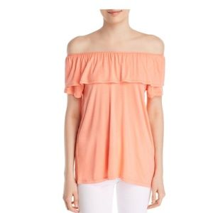 A + A Collection Peach Off The Shoulder Ruffle Top